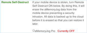 Remote self-destruct feature